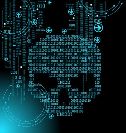 Crâne humain en arrière-plan numérique. Concept de sécurité réseau, virus informatique, cyberattaque.