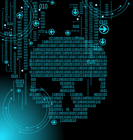Human skull in digital background. Concept of network security,  computer virus, cyber attack. Illustration
