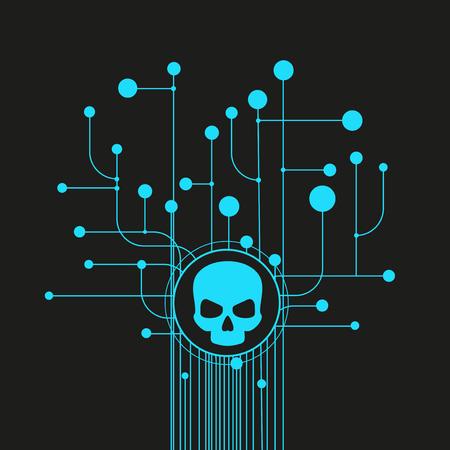 Crâne humain en arrière-plan numérique. Concept de sécurité réseau, virus informatique, cyberattaque. Vecteurs