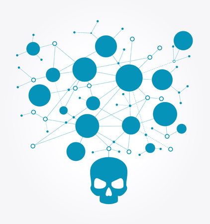 Human skull in digital background. Concept of network security,  computer virus, cyber attack. Çizim