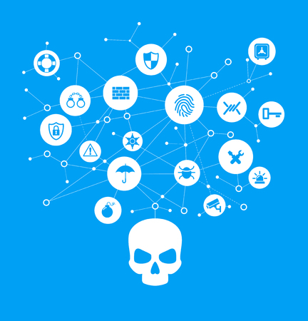 Human skull in digital background. Concept of network security,  computer virus, cyber attack. 向量圖像