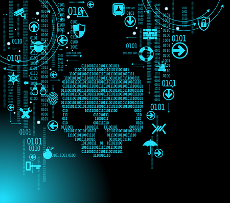 Human skull in digital background. Concept of network security,  computer virus, cyber attack.  イラスト・ベクター素材