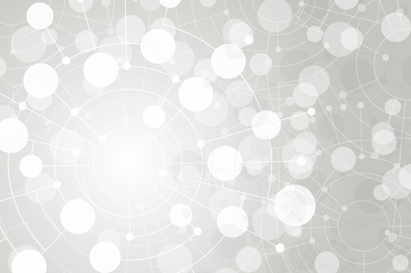 White texture. Abstract dots and circles connected by lines and curves. Concept of operation of computer network work. Background the nerve cells of the human. File is saved in AI10 EPS version. This illustration contains a transparency  Vectores