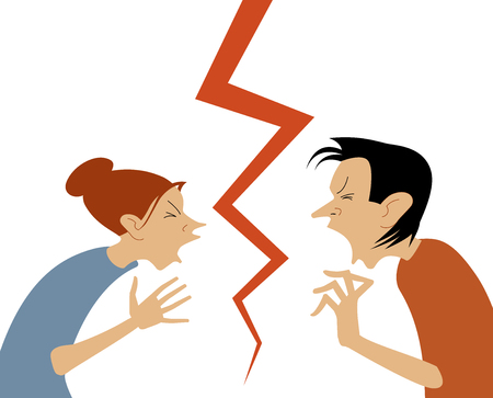 Man and woman are in active communication. quarrel concept. Vector illustration in a flat style. Business interest.