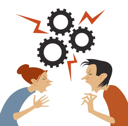 Man and woman are in active communication. quarrel concept. Vector illustration in a flat style. Business interest. Illustration