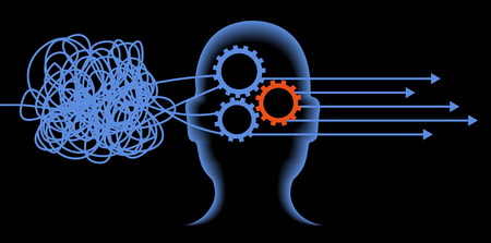 Man systematizes his thinking.Making right desicion. Systematize with thinking concept. Brain efficiency