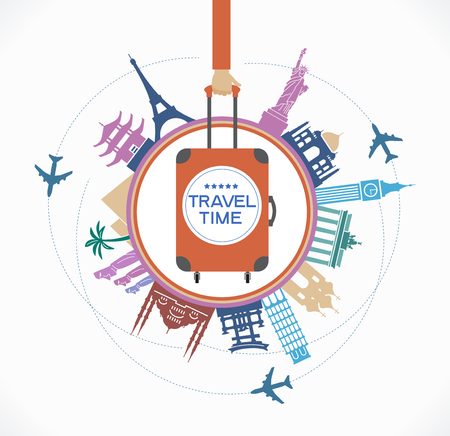 Infographics elements: Travel and Famous Landmarks. A set of elements for travel and vacations. Bright color image on a black background. File is saved in AI10 EPS version. Illustration