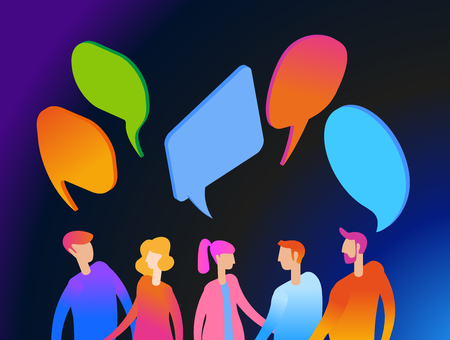 People chat in social network. Dialogue speech bubbles.  Businessmen discuss. 3D vector isometric illustration.