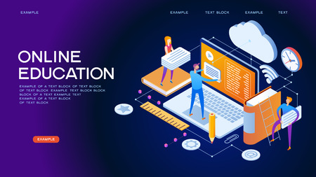 Laptop book electronic library and cloud computing conceptual images. Modern design concept of Online Education. 3d isometric vector illustration. Illustration