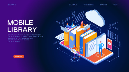 Mobile Web library. Technology and literature. Digital ibrary web banner. People interact with digital books. Isometric images. 3d vector illustration. Ilustracje wektorowe