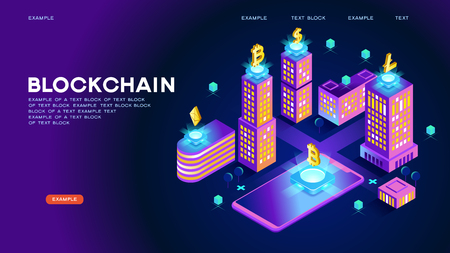 Blockchain network concept , Distributed ledger technology , Block chain text and computer connection. Modern 3d isometric vector illustration of web page. Design concept.