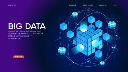 Persone che interagiscono con i big data. Concetto di visualizzazione dei dati. illustrazione vettoriale isometrica 3D. Modello di pagina. Vettoriali