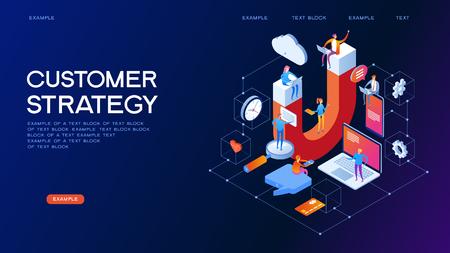 Strategia del cliente, assistenza clienti e servizio illustrazione vettoriale isometrica 3d. Banner con icone. Vettoriali