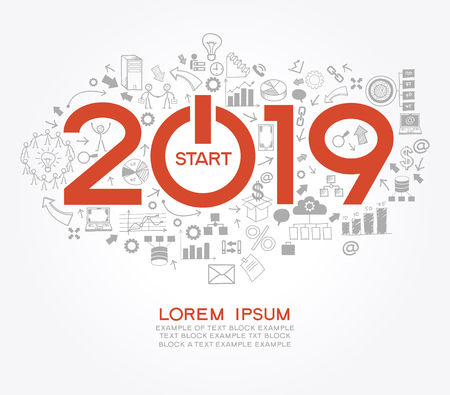 2019 text design on creative business success strategy. Concept modern template layoutÑŽ 2019 text surrounded by doodle icons