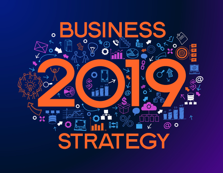 2019 text design on creative business success strategy. Concept modern template layoutÑŽ 2019 text surrounded by doodle icons Vektorové ilustrace