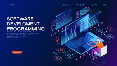 Bannière Web de programmation. Meilleurs langages de programmation. Processus technologique de développement logiciel