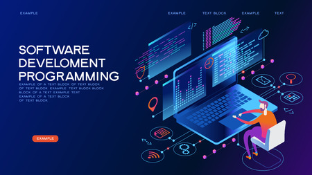 Programming web banner. Best programming languages. Technology process of Software development Иллюстрация