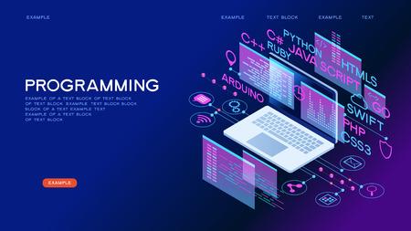 Technology concept. Programming web banner. Best programming languages. Technology process of Software development Vetores