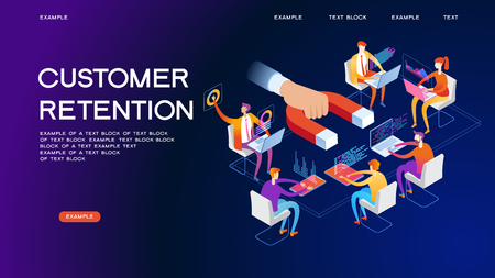 Business; concept. Customer retention, customer support and service 3d isometric vector illustration. Banner with icons.