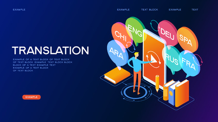 Concept of translating and interpreting for web banners.Concept on-line learning and teaching on theme of foreign languages. 3d isometric vector illustration. Ilustracja