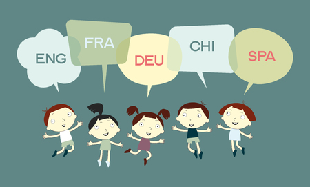 TRANSLATOR chat concept. Funny kids and speech bubble. School background. Sketch cartoon.