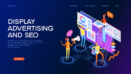 Seo optimization concept. Team work together on web design. Isometric infographics or banner.  Development group characters. Flat isometric vector illustration.