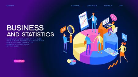 Estadísticas y análisis en empresas. El concepto de gestión financiera. Actividades para estudiar la estructura del mercado, los precios del mercado y sus tendencias. Ilustración isométrica 3d