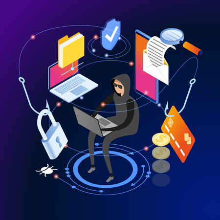 Hacker attack and web security vector concept, phishing scam. Netwrok and internet security. Anti virus, spyware, malware. 3d isometric vector illustration. 일러스트
