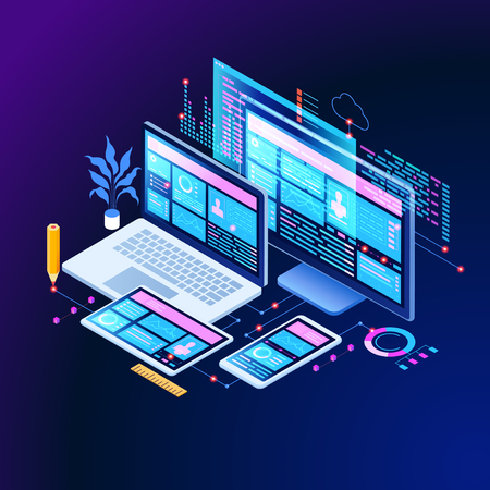 Building mobile interface on screen of laptop, smartphone, tablet. Developers use software on multiple devices.Cross-platform software. 3d isometric vector illustration.