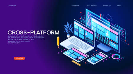 Building mobile interface on screen of laptop, smartphone, tablet. Developers use software on multiple devices.Cross-platform software. 3d isometric vector illustration. Çizim