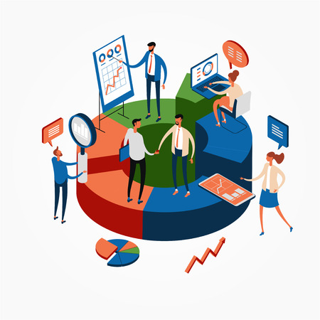 Statistics and analysis in business. The concept of financial management. Activities to study the structure of the market, market prices and their trends..3d isometric illustration Illustration