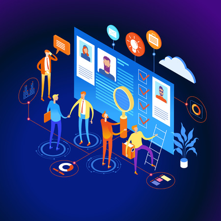 Know your customer concept. Modern business technology. The person interacts with potential customers. Businessman works with these graphs and diograms. 3d vector isometric illustration.  イラスト・ベクター素材