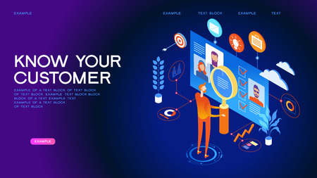 Know your customer concept. Modern business technology. The person interacts with potential customers. Businessman works with these graphs and diograms. 3d vector isometric illustration. Stock Illustratie