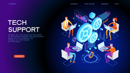 Technical support illustration concept. Modern business technology. Technical support engineer with computer at work. Design concepts for web banners. 3D vector isometric illustration. Illustration