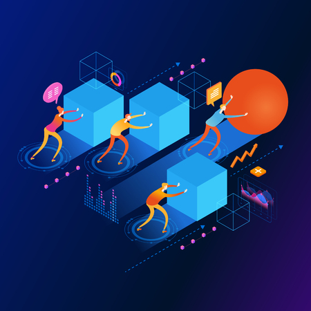A businessman pushing a sphere leads the race among other businessmen pushing boxes. Winning strategy. Innovation concept. 3d vector isometric illustration. Banque d'images - 121675505