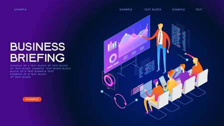 Business conference concept. Corporate training, seminar. People team contemporary management. Flat isometric vector illustration. Çizim