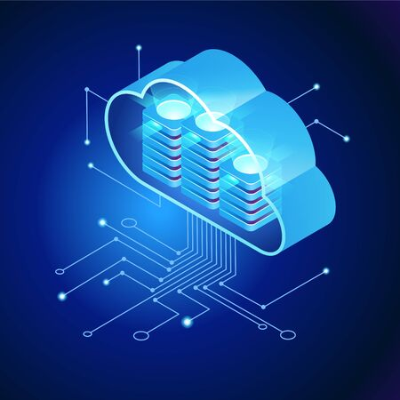 Cloud computing.  Online devices upload, download information. Data in database on cloud services. Isometric concept. Modern 3d isometric vector illustration of web page. 矢量图像