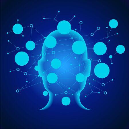 Neurales Netzwerk. Tiefes Lernen. Konzept der künstlichen Intelligenz. Robotergesicht und abstrakter Hintergrund des Gebäudes