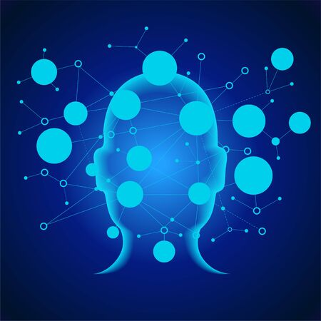 Rete neurale. Apprendimento approfondito. Concetto di intelligenza artificiale. Faccia del robot e costruzione di sfondo astratto