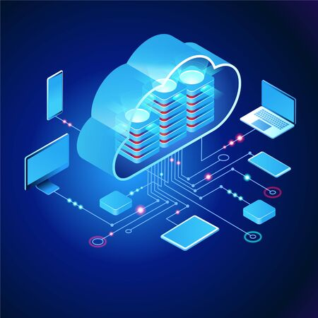 Cloud computing.  Online devices upload, download information. Data in database on cloud services. Isometric concept. Modern 3d isometric vector illustration of web page. Çizim