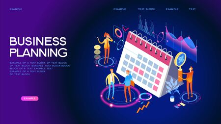 Concept or planner. Management and presentations. People interact with a calendar surrounded by business icons. Web banner. Flat isometric vector illustration. Çizim