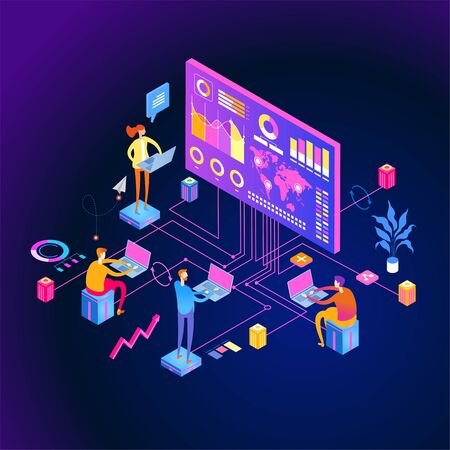 interactive reports web banner. People interacting with analyzing statistics and charts. Workflow and business management. 3D vector isometric illustration.