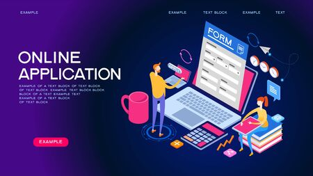 People interact with computers and online applications. Form, landing page for infographics. Flat isometric vector illustration. Çizim