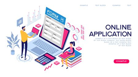 People interact with computers and online applications. Form, landing page for infographics. Flat isometric vector illustration. Ilustración de vector