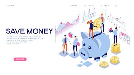 Sparschwein, Geldeinzahlung, Ersparnisse, sicheres Geldkonzept. Flache isometrische Vektorillustration. Webbanner Vektorgrafik