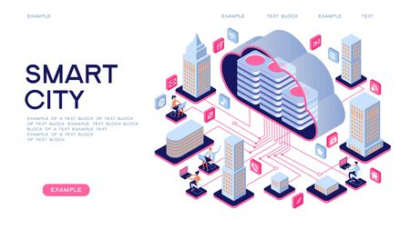 Smart city or intelligent building isometric vector concept. Smart home control concept. Concept home with technology system. 3d isometric vector illustration. Ilustracja