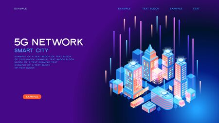 5G network wireless technology  vector concept. High-speed mobile Internet. Using modern digital devices. Smart city or intelligent building isometric. 3d isometric vector illustration. Çizim