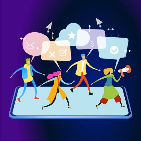 Referral marketing. Promotion method. Refer a friend loyalty program. A group of people come out of a smartphone. Men and women with speech bubbles and icons. 3d vector isometric illustration. Stock Illustratie