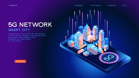 5G network wireless technology  vector concept. High-speed mobile Internet. Using modern digital devices. Smart city or intelligent building isometric. 3d isometric vector illustration.  イラスト・ベクター素材