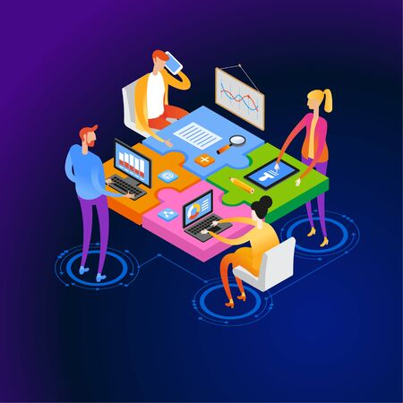 Startup team. People interact with each other, with computers, graphics, puzzles. Goal thinking. Modern 3d isometric vector illustration of web page.  Design concept. Cooperation construction by agency group.